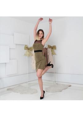 Μίνι φόρεμα λούρεξ με λεπτομέρεια διαφάνειας