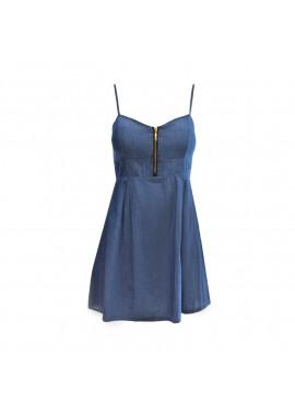 Φόρεμα τζιν με φερμουάρ στο μπούστο